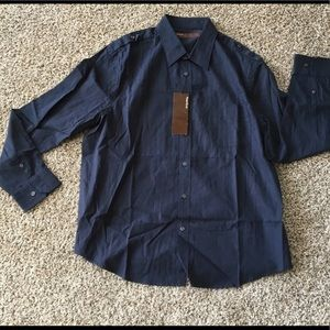 Perry Ellis Navy Blue Men's Dress Shirt